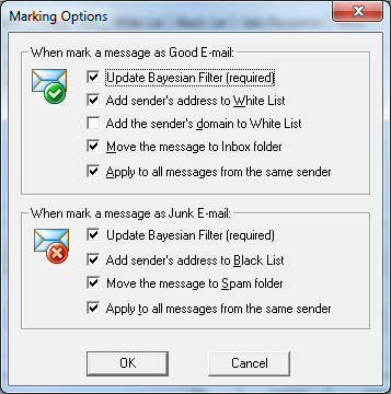 Where are Outlook Spam Folder and Outlook Spam Settings?
